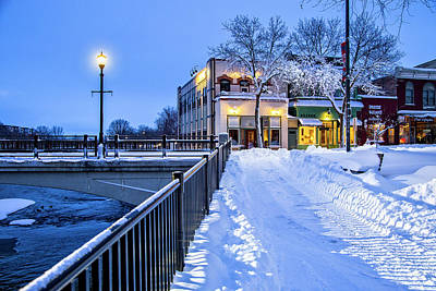 Photograph - Store Fronts In Snow Near Water Street Bridge by Joe Miller