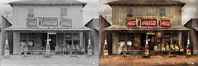 Art Print featuring the photograph Store - Grocery - Mexicanita Cafe 1939 - Side By Side by Mike Savad