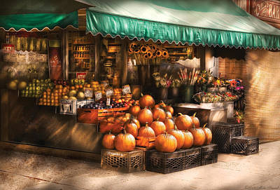 Photograph - Store - Hoboken Nj - The Fruit Market by Mike Savad