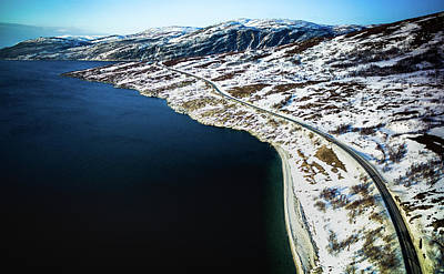 Photograph - Storekorsnes Aerial Over Altafjord Finnmark Norway by Adam Rainoff