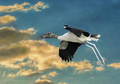 Stork Bringing Nesting Material Art Print