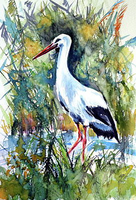 Stork Painting - Stork by Kovacs Anna Brigitta