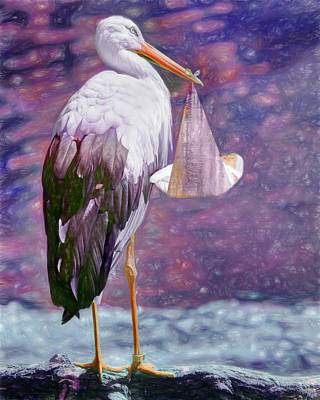 Photograph - Stork With Baby - Purple by Nikolyn McDonald