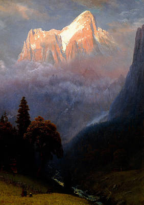 Snow Capped Mountains Wall Art - Painting - Storm Among The Alps by Albert Bierstadt