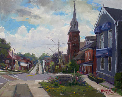 Downtown Wall Art - Painting - Storm Approach Over Downtown Georgetown by Ylli Haruni