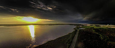 Photograph - Storm Approahing Orange Beach Alabama Panorama by Michael Thomas