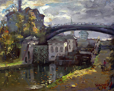 Lock Painting - Storm Aproach At Lockport Locks by Ylli Haruni