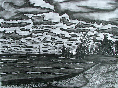 Beach Landscape Drawing - Storm At Bayfield Beach by Lee Davies
