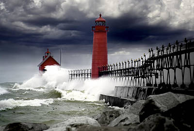 Randall Nyhof Royalty Free Images - Storm at the Grand Haven Lighthouse Royalty-Free Image by Randall Nyhof