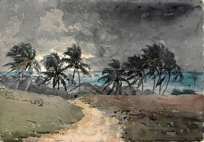 Winslow Homer Drawing - Storm. Bahamas by Winslow Homer