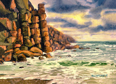 Moody Beach Painting - Storm Brewing In Porthgwarra-cornwall by Melissa Herrin