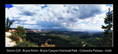 Photograph - Storm Cell Bryce Point Bryce Canyon Utah Pan 01 Text Black by Thomas Woolworth