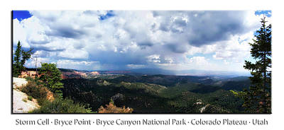 Photograph - Storm Cell Bryce Point Bryce Canyon Utah Pan 01 Text by Thomas Woolworth