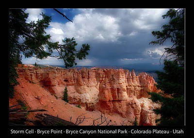Photograph - Storm Cell Bryce Point Bryce Canyon Utah Text Black by Thomas Woolworth