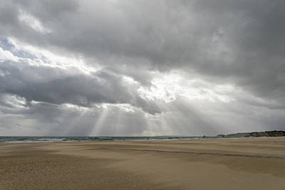 Photograph - Storm Chasing In Algarve Portugal - Wind Sculpted Sands And God Rays by Georgia Mizuleva