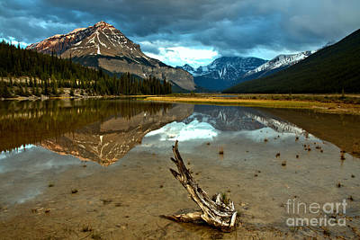 Photograph - Storm Clouds And Mt. Chephren Reflections by Adam Jewell