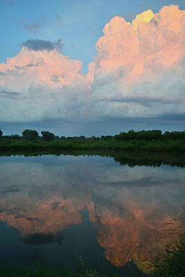 Photograph - Storm Cloud Reflection At Sunset by Ray Mathis