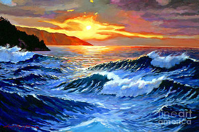 Ocean Sunset Painting - Storm Clouds - Catalina Island by David Lloyd Glover