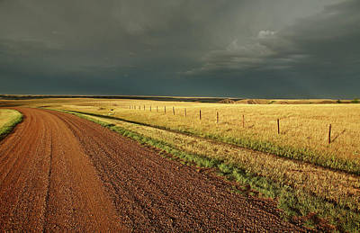 Storm Clouds Along A Saskatchewan Country Road Art Print by Mark Duffy