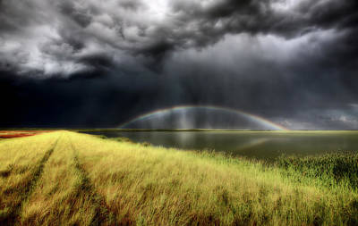 Weed Digital Art - Storm Clouds And Rainbow Over Chaplin Lake Marshes by Mark Duffy