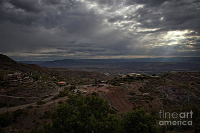 Art Print featuring the photograph Storm Clouds And Suns Rays Jerome Az by Ron Chilston