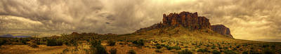 Photograph - Storm Clouds And Superstition Mountain In Panorama by Roger Passman