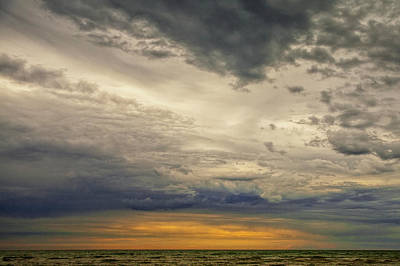 Photograph - Storm Clouds At Sunrise Over Lake Huron By Oscoda Michigan by Randall Nyhof