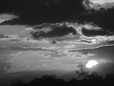 Photograph - Storm Clouds At Sunset In Black And White by Gill Billington