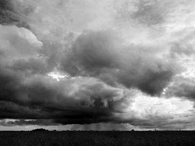 Photograph - Storm Clouds Falling In Black And White by Gill Billington