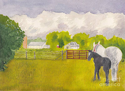 Storm Clouds Mare And Colt At Sunrise Art Print