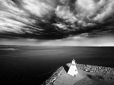 Storm Clouds Over A Lighthouse  Original by Julius Reque