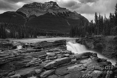 Photograph - Storm Clouds Over Athabasca Falls Black And White by Adam Jewell