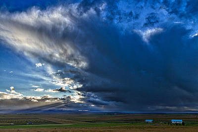 Photograph - Storm Clouds Over Farmland #2 - Iceland by Stuart Litoff