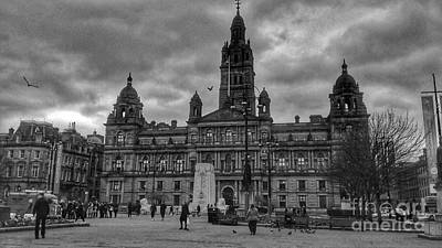 Photograph - Storm Clouds Over George Square In Monochrome by Joan-Violet Stretch