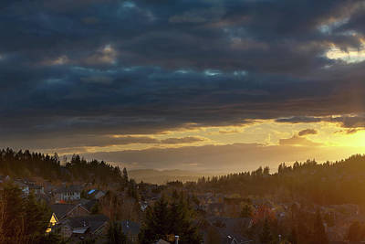 Storm Clouds Over Happy Valley During Sunset Art Print by David Gn