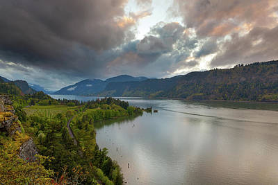 Farmland Photograph - Storm Clouds Over Hood River by David Gn