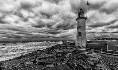 Photograph - Storm Clouds Over Old Scituate Lighthouse In Black And White by Brian MacLean
