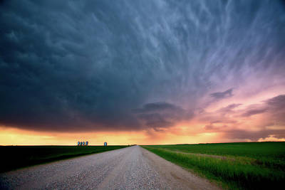 Storm Clouds Over Saskatchewan Country Road Art Print by Mark Duffy