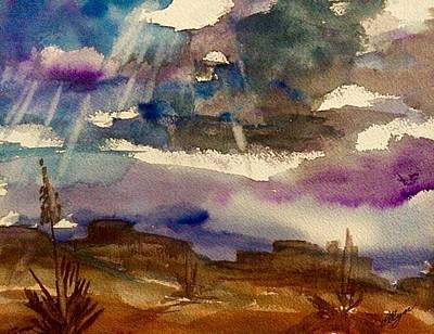 Storm Clouds Over The Desert Art Print by Ellen Levinson