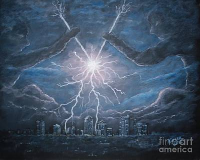 Man In The Moon Painting - Storm Games by Marlene Kinser Bell