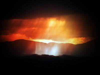 Storm Glow Night Over Santa Fe Mountains Art Print by Joseph Frank Baraba