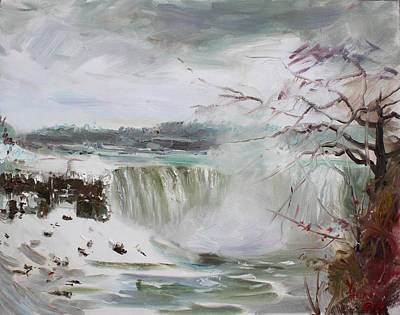 Storms Painting - Storm In Niagara Falls  by Ylli Haruni