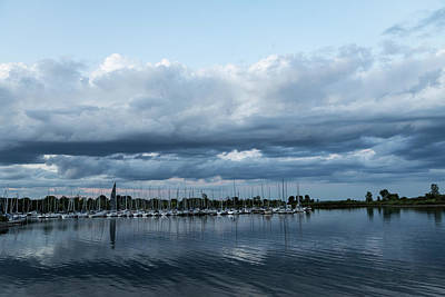 Gaugin Rights Managed Images - Storm is Coming - Turbulent Sky and Yachts Royalty-Free Image by Georgia Mizuleva