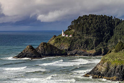 Photograph - Storm Moving Over Heceta Head Lighthouse by Teri Virbickis