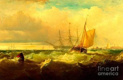 Painting - Storm Off New Castle Delaware 1857 by Peter Gumaer Ogden Collection
