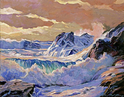 Crashing Wave Painting - Storm On Pacific Coast by David Lloyd Glover