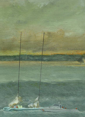 Storm On The Horizon-detail Art Print by Perry Ashe