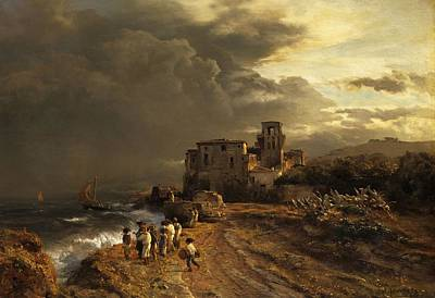 Antique Italian Oil Painting - Storm On The Italian Coast by Mountain Dreams