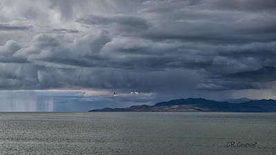 Photograph - Storm Over Antelope Island by CR  Courson