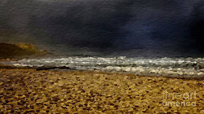Abstract Beach Landscape Digital Art - Storm Over Beach by Anthony Fishburne